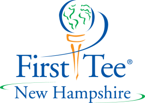 First Tee of New Hampshire logo with golf ball representing Earth on top of a tee