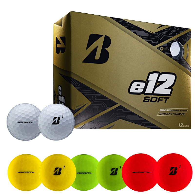e12 Soft golf balls in white, yellow, red, and green