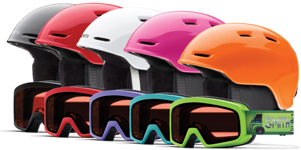 assorment of ski helmets and goggles